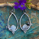 Succulent & Moonstone teardrop hoop Earrings