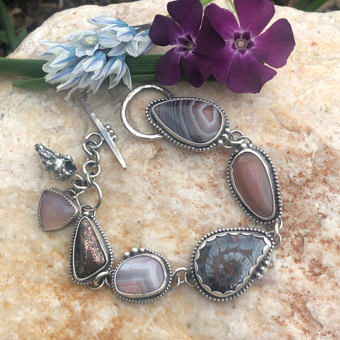 Ammonite Fossil Boho Dreams Cabochon and Seashell Fossil Sterling Silver Bracelet