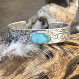Kingman turquoise floral Sterling Silver Cuff Bracelet