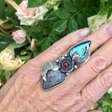 Montana Agate and Turquoise and Montana agate Sterling Silver ring in a size 6.25