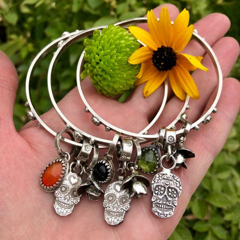Sugar Skull and Carnelian sterling silver Bangle Sterling Bracelet