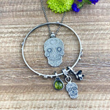 Sugar Skull and Peridot sterling silver Bangle Sterling Bracelet