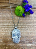 Sugar Skull sterling silver Necklace
