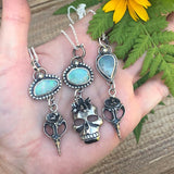 Opal Bird Skull with Succulent Necklace