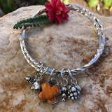 Succulents Plus sterling silver twisted double Bangle Sterling Bracelet