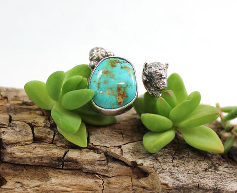BUFFALO and Turquoise Sterling Silver ring, Size 8 to 8.5