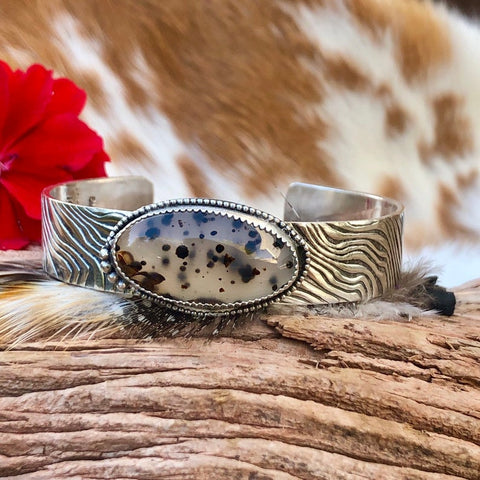 Wild Thing Montana Agate and animal print Sterling Silver Cuff Bracelet