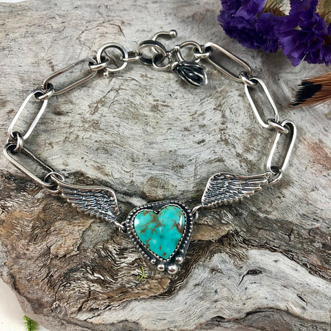 Wild heart with a gypsy soul hand wrought heavy chain sterling silver bracelet