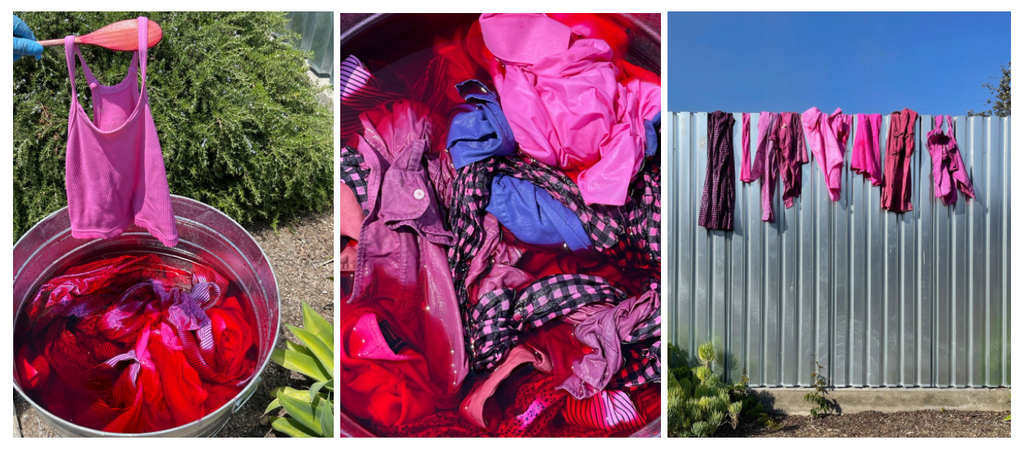 Clothes being hand-died pink