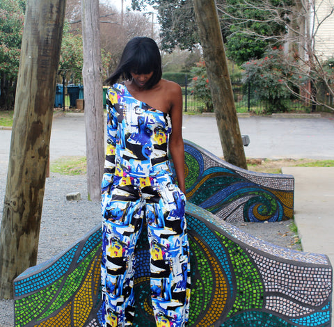 One shoulder jumpsuit with pockets. The print is a beautiful watercolor abstract.