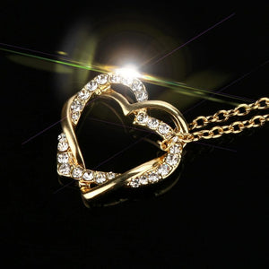 Double heart winding high-grade clavicle chain New Fashion Women Double Heart Pendant Necklace Chain Jewelry #45