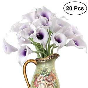 20pcs Artificial Calla Lily Bridal Wedding Bouquet Flowers Real Touch Decorative Bouquet