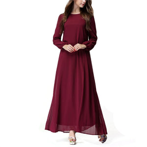 Solid Color O-neck Blouson Sleeve Loose Waist Belt Chiffon Dress Long Sleeves for Women Lady - Size L(Wine Red)