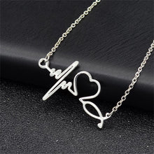 Load image into Gallery viewer, Heartbeat Heart Shaped Electrocardiogram Necklace Pendant Rhythm