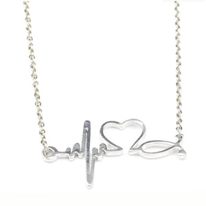 Heartbeat Heart Shaped Electrocardiogram Necklace Pendant Rhythm