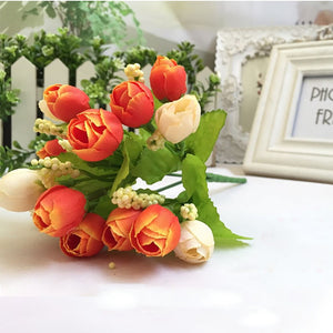 15 Heads Unusual Artificial Rose Silk Fake Flower Leaf Home Decor Bridal Bouquet
