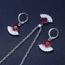 Load image into Gallery viewer, Women's Alloy Inlaid Earrings Sector Ear Studs Necklace Ornament  Jewellery