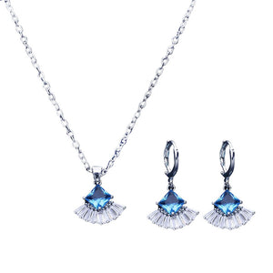 Women's Alloy Inlaid Earrings Sector Ear Studs Necklace Ornament  Jewellery