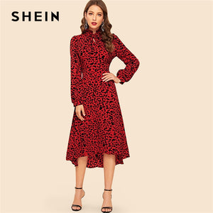 SHEIN Red Tie Neck High Low Hem Leopard Print Fit and Flare Dress Women Spring High Waist Vintage Elegant Long Sleeve Dresses