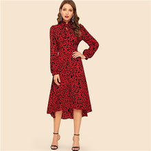 Load image into Gallery viewer, SHEIN Red Tie Neck High Low Hem Leopard Print Fit and Flare Dress Women Spring High Waist Vintage Elegant Long Sleeve Dresses