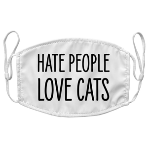 Hate People Love Cats Funny Reusable Premium Face Mask with Filters