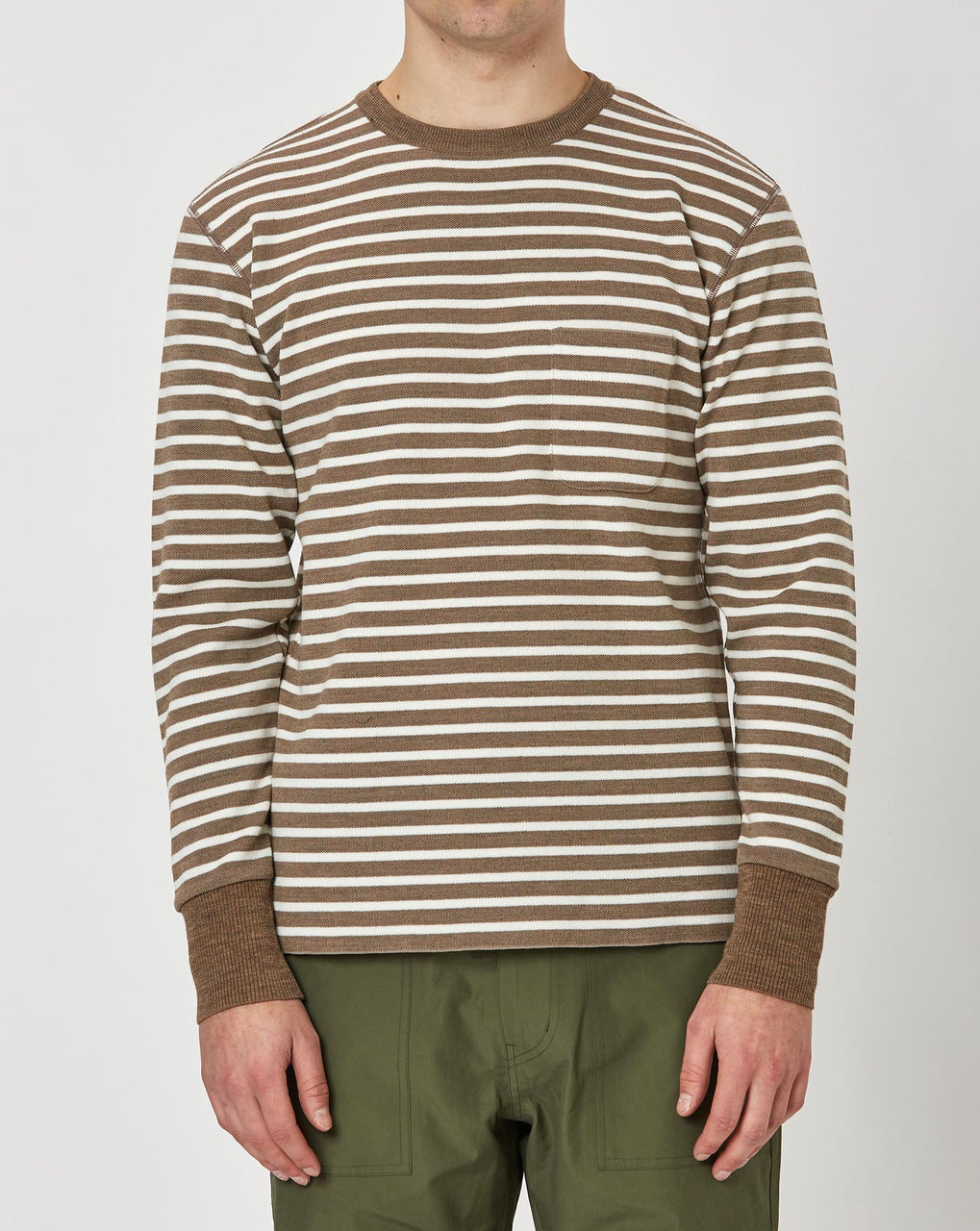 Snow Peak Wool/Linen/PE Crewneck Long Sleeve (Brown and White)