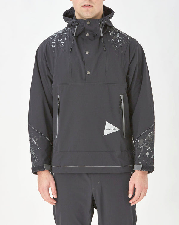 and Wander Splatter Print Nylon Double Cloth Hoodie (Black Splatter)
