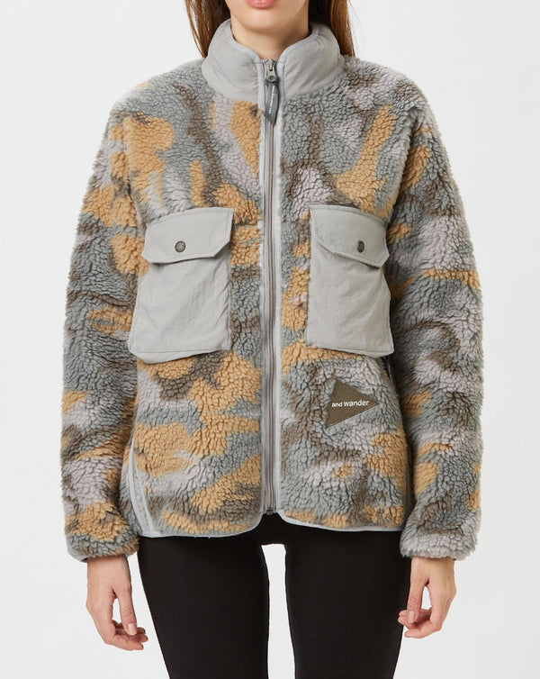 and wander Jacquard Boa Jacket (Grey)