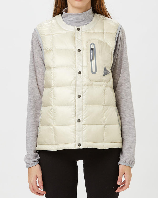 and Wander Diamond Stitch Down Vest (Off White)