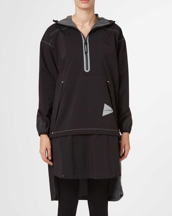 and wander 2.5 Layer Rain Long Pullover (Black)