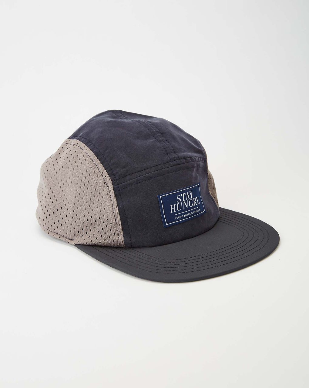 Stay Hungry Blue Label Mesh 5 Panel Cap (Blue/ Grey/ Blue)