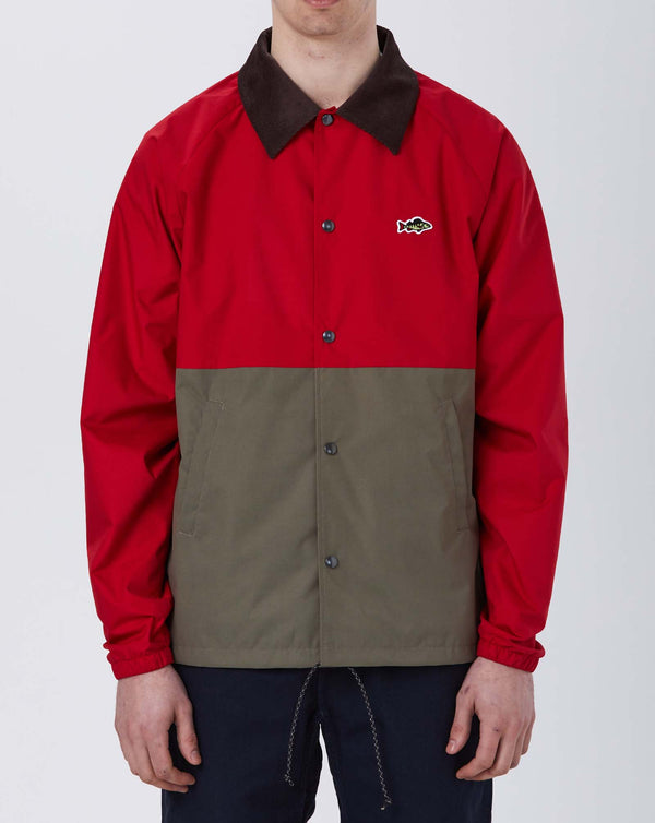 Stay Hungry ABORRE Colourblock Coach Jacket (Red/ Khaki)