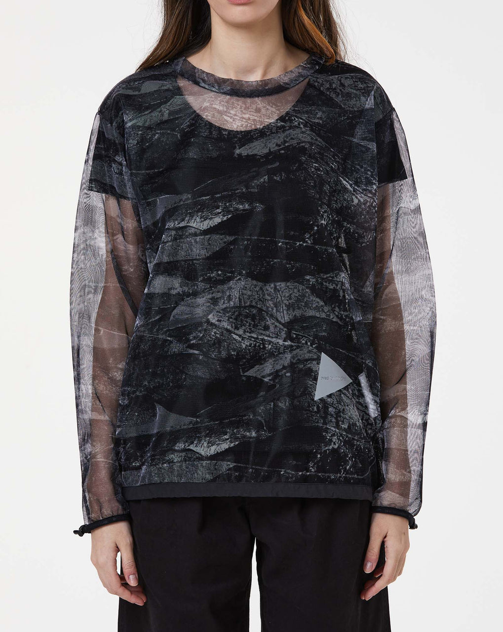 and Wander Printed Bug Mesh Pullover (Black)
