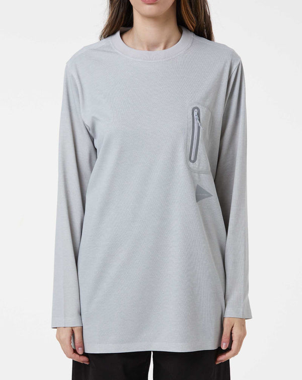and Wander Polyester Seamless Long T (Light Grey)