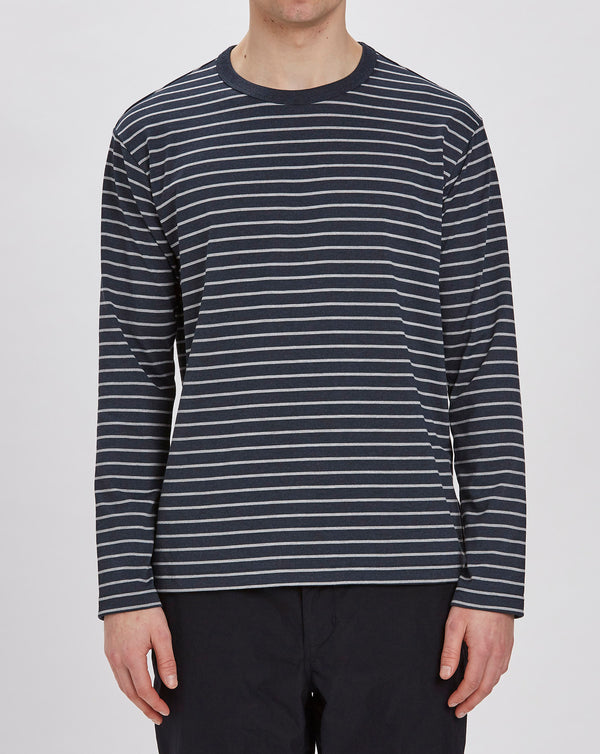Goldwin Border Crew Neck Long Sleeve Top (Dark Navy)