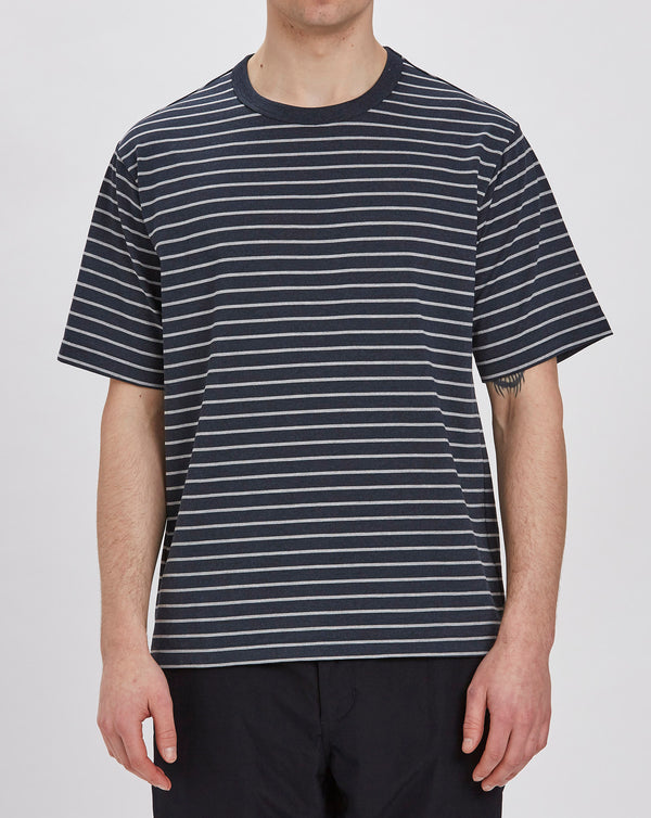 Goldwin Border Crew Neck Short Sleeve Top (Dark Navy)