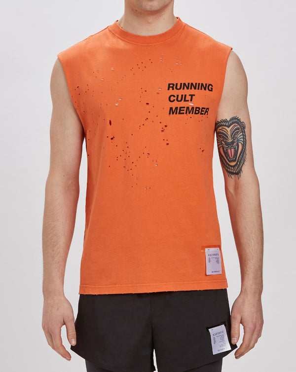 Satisfy Cult Moth Eaten Muscle T-shirt (Coral Orange)