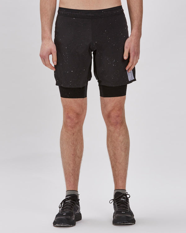 "Satisfy Trail Long Distance 10"" Shorts (Black Silk Splattered)"
