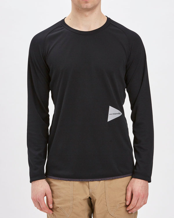 and Wander Dry Jersey Raglan Long Sleeve Top (Black)