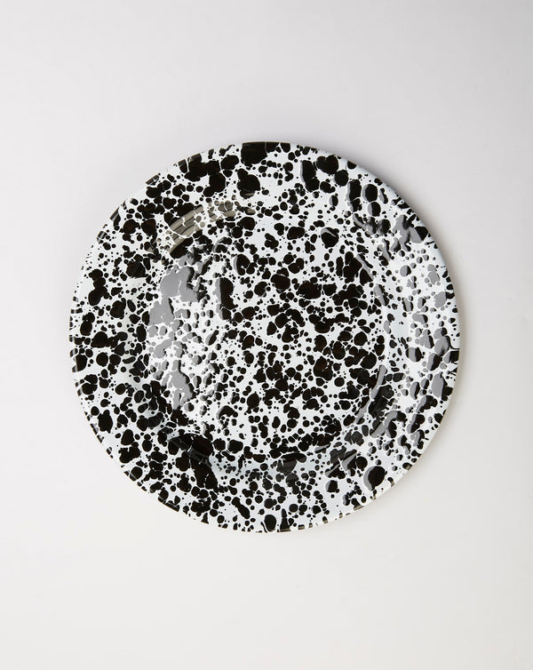 Crow Canyon Splatter Enamel Salad Plate (Black/White)