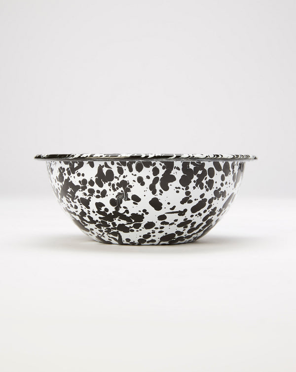 Crow Canyon Splatter Enamel Cereal Bowl (Black/White)