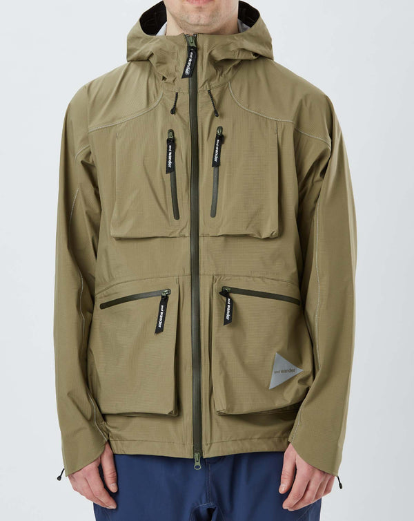 and Wander Event Dropping Pocket Rain Jacket (Khaki)