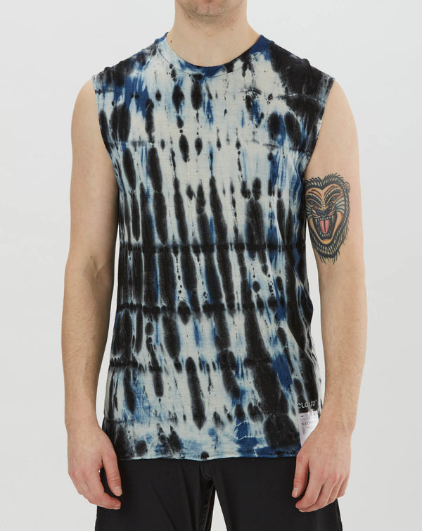 Satisfy Cloud Merino 100 Muscle Tee (Blue Black Tie Dye)