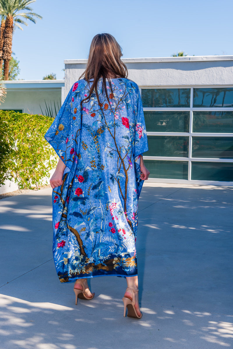"Chinoiserie "" Blue or Pink Long Silk Caftan Sale"