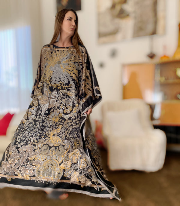 """Night Mystique"" Long Silk Caftan"