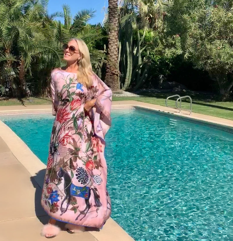 """Pink Floral Folly "" Long Silk Caftan"