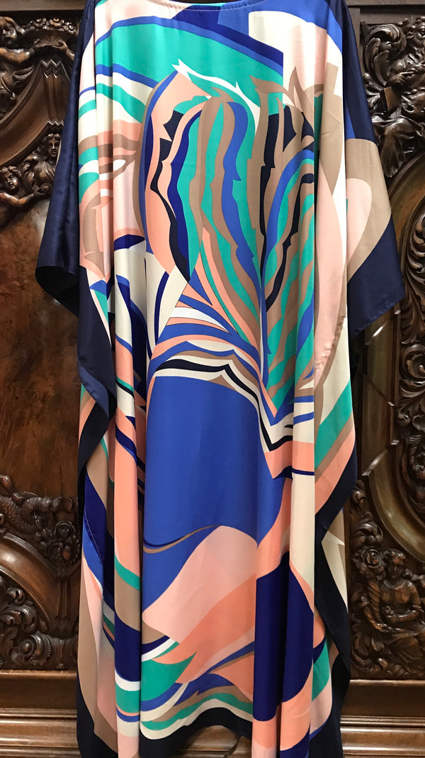 """Rich Abstract"" Long Silk Caftan  Blue or Pink"