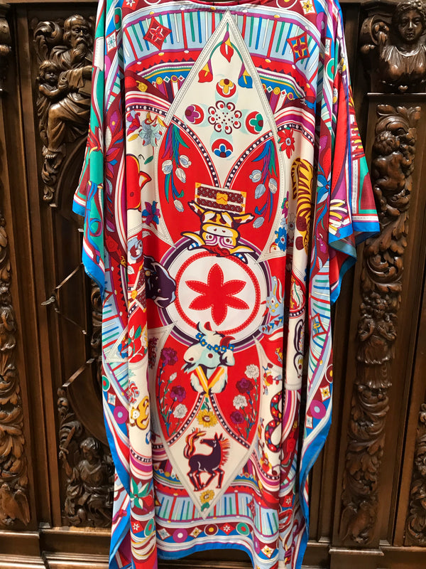 Chinese Zodiac Long Silk Caftan