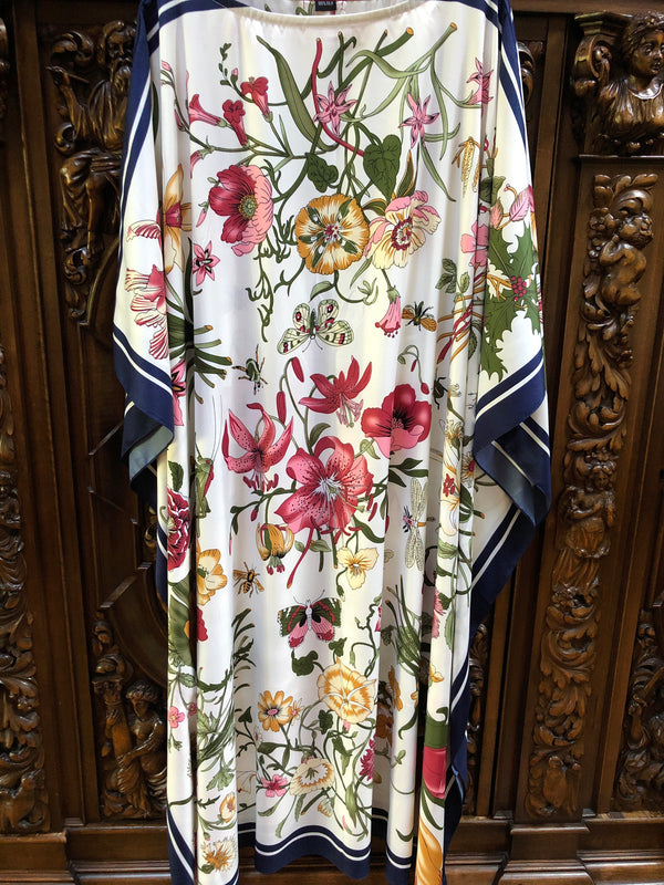 "Silk Caftan in ""Floral"" White"