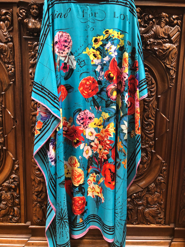 """Love"" Designer Long Silk Caftan"